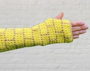 Crochet Wizard of Oz Yellow Brick Road Fingerless Gloves, Elbow Length