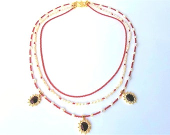 Boho red and white beaded necklace, Handmade jewelry, ONE OF A KIND