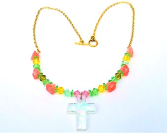Handmade beaded cross necklace, Spring flower Easter jewelry, Christian girl gifts, One of a Kind