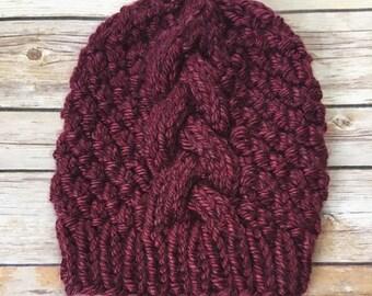 b9f57767c6d THE KRISTEN I Slouchy Vegan Burgundy Cabled Beanie I Slouchy Hat I Boho Hat  I Knit Hat