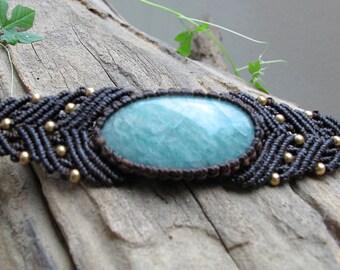 Tribal Amazonite Micro Macrame Bracelet  witb brass beads - Gypsy Bohemian- boho chic - Chunky bracelet - Steam punk - Alternative Jewellery