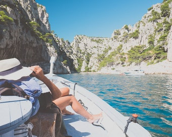 Southern France/Sailing Cassis Calanques/Sunhat Woman Sailing/Turquoise Sea Cliffs/Cassis France Photography/Woman on Sail Boat/Cassis