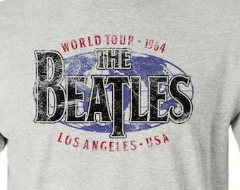 "The BEATLES World Tour 1964 ""Vintage Logo"" on 100% cotton T-shirt! Custom City Names! Limited Run!"
