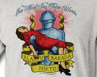 "Klaatu Barada Nikto - GORT - Vintage ""Tattoo"" style ROBOT shirts - 100% Cotton T-Shirt & Jersey The Day The Earth Stood Still"