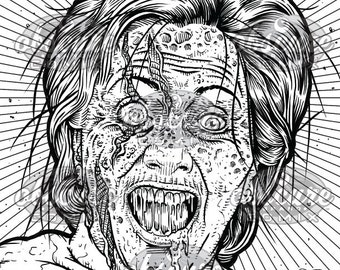 digital zombie coloring page hellary