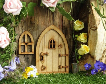 Country Cottage Wooden 3D Fairy Door Craft Kit with Fairy Windows, Keyhole and Door Handle for Fairy Gardens, Fairy Houses etc
