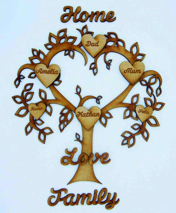 Familia De Madera Mdf palabra script para árbol familiar Crafts-Mdf Corazones incluido 3mm