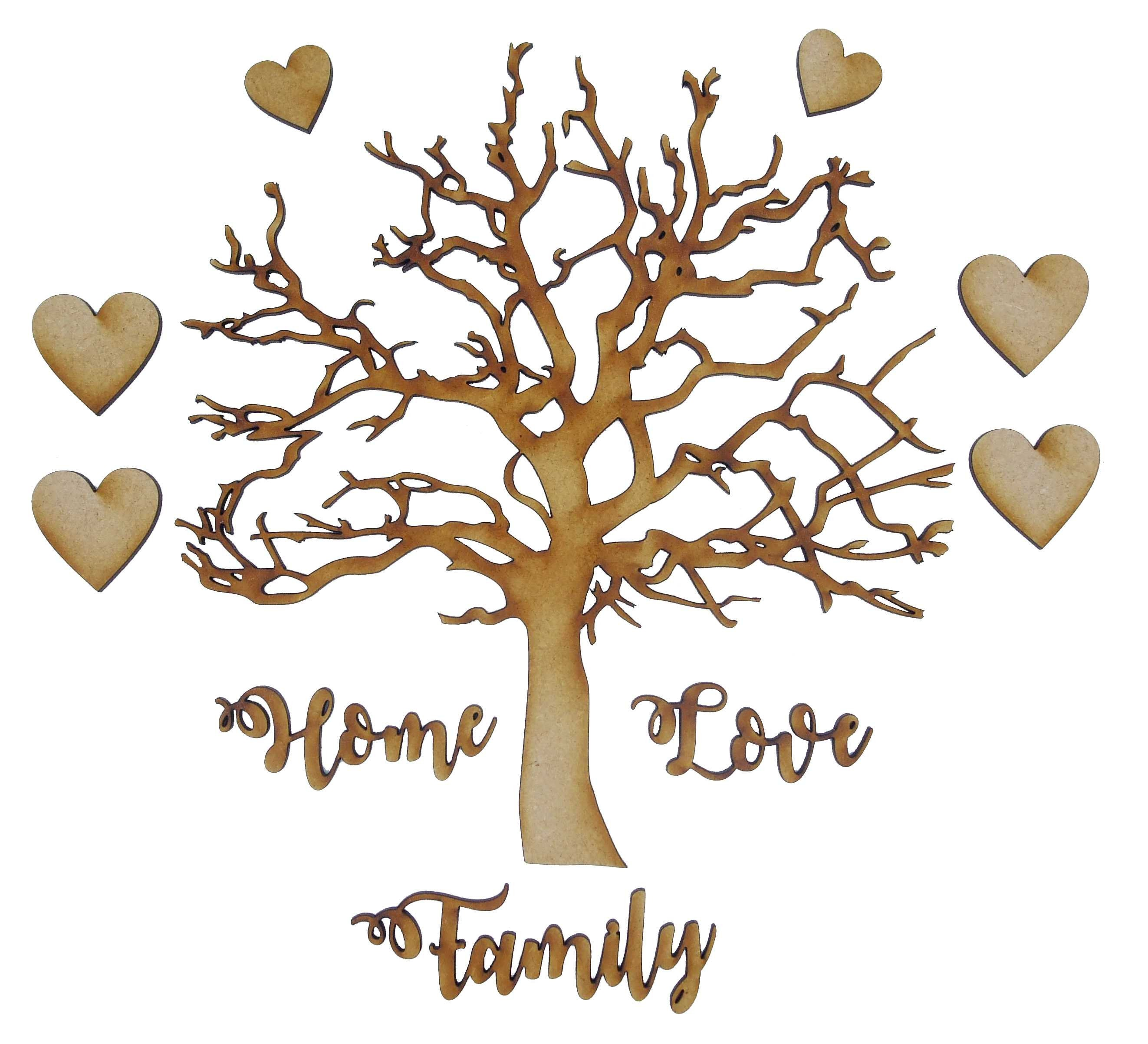 Family Tree 1 Name//Word Personalised Heart 3mm MDF Laser Cut Wooden Craft Blank