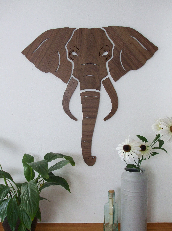 Elephant Head Wooden Wall Art - Big Game Animal Head Wall Art, Gifts, Home Decor - includes Wall ...