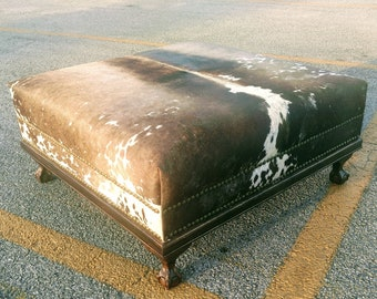 Admirable Cowhide Ottoman Etsy Theyellowbook Wood Chair Design Ideas Theyellowbookinfo