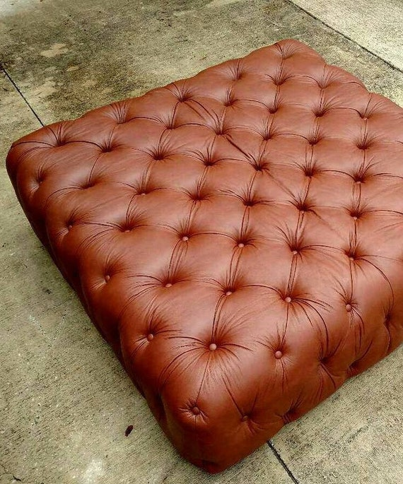 Remarkable Gambrell Renard Saddle Brown Tufted Leather Ottoman Caraccident5 Cool Chair Designs And Ideas Caraccident5Info