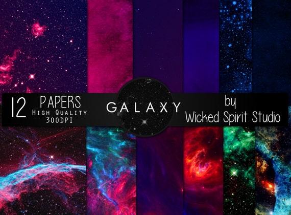 Galaxy Scrapbook Paper Set Instant Download Printable Diy Etsy