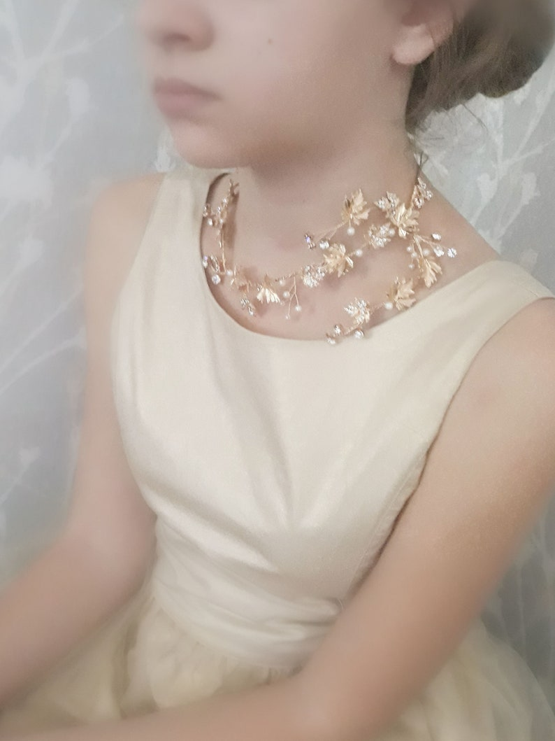 Wedding Gold leaves Choker leaf bridal gold Chain crystal leaf Necklace Gold leaves high Time chain elegant Bridal jewelry