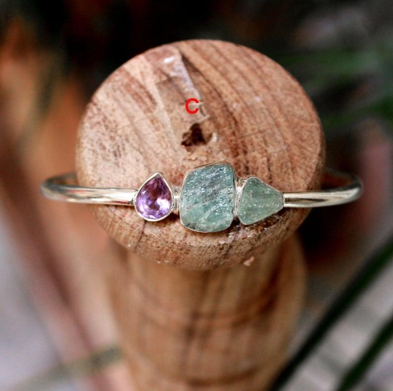 Aqumarine Bracelet,Chalcedony Lapis Gemstone Bangle,925 Sterling Silver Bracelet,Rough Aquamarine Amethyst Cuff,Gold Plated Jewelry