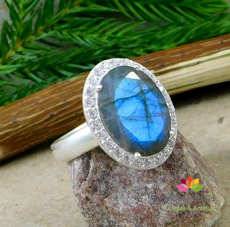 Gorgeous Faceted Labradorite Ring,Engagement Ring,Anniversary Present,Wedding gift jewelry Piece,925 sterling silver,CZ Halo Silver Ring
