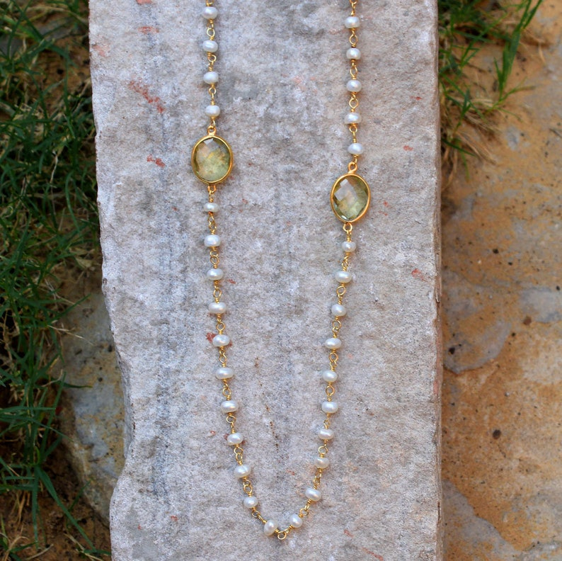 Exclusive,Handmade,Lemon Quartz /& Pearl Station Necklace,925 Sterling Silver gorgeous jewelry Mom/'s Birthday Gift,Anniversary Gift Necklace