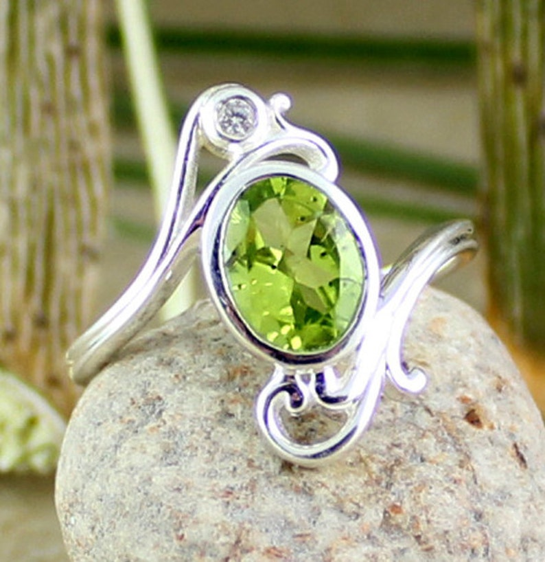 3d33eb16256cd Green Peridot Ring,designer ring,natural peridot,cute ring,Valentine  Gift,925 Sterling Silver Jewelry,Women jewelry,Birtday presentETR1157
