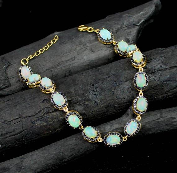 Handmade Jewellery Silver Bracelet 925 Sterling Silver 5x7 MM Oval Natural Opal CZ Bracelet Silver Opal Bracelet