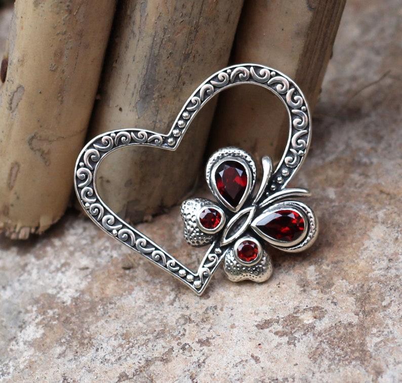 Garnet Gemstone Heart Shape Oxidized Pendant,Solid 925 Sterling Silver Jewelry,Valentine Gift Pendant For Girlfriend