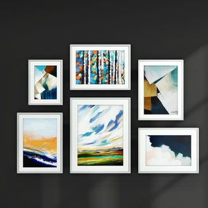 Abstract Paintings Giclee Print Set of 6 Prints Gallery Wall Print Set Fine Art Prints Contemporary art Gallery Wall Art