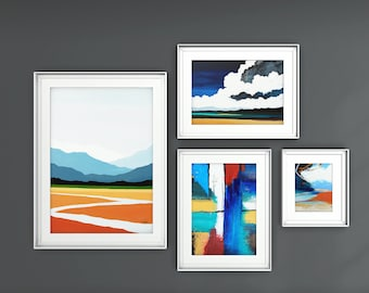 Fine Art Prints, Gallery Wall Set, Set of 4 Prints, Contemporary art, Abstract Paintings, Modern Art Prints, Free Shipping,Giclee Print