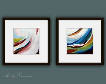 Fine Art Prints, Set of 2 Prints, Abstract Painting, Contemporary art, Square Prints, Modern Art Prints, Giclee Print, Modern Painting