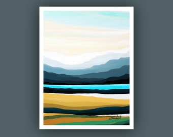 Fine Art Prints, Contemporary art, Abstract Mountain Painting,  Modern Art Prints, Giclee Print, Abstract Landscape Painting