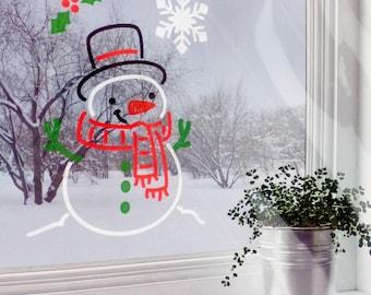 Window Art Stencils, Set Of 3, Snowman Stencil, Reindeer Stencil, Christmas Tree Stencil, Christmas Stencils, Christmas Decor Stencils