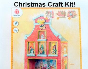 Christmas Shop Craft Kit, MDF Craft Kit for kids. Small X-mas DIY Kit, Holiday Model Craft Kit For Kids, Christmas House Modeling Kit