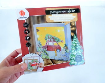 Christmas Craft Kit, X-mas Lightbox, DIY Christmas Decor, Christmas Lightbox Kit, MDF Craft Kit, MDF light box, Christmas Scene