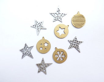 Christmas Wood Pieces, Gold and Green Laser Cut Wood Ornaments, X-mas Wood Craft Supplies, Wood Christmas Ornaments Crafting or Scrapbooking