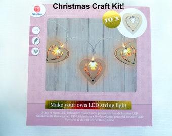 Christmas LED Lights, MDF String Light Kit, DIY Christmas Lights, Reindeer Christmas Lights, Wood X-mas Garland, X-mas Light Decor
