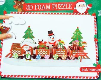 Christmas Train Craft Kit, Christmas Polar Express puzzle, 3D Polar Express Train, Foam Puzzle, Christmas 3d Foam Puzzle, 3D Christmas Craft