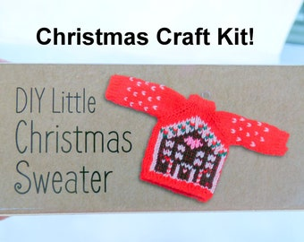 Mini Christmas Sweater Craft Kit, Ugly X-mas Sweater Knitting Kit, Ginger bread house Knit Kit, Christmas Craft Kit, red Christmas Sweater