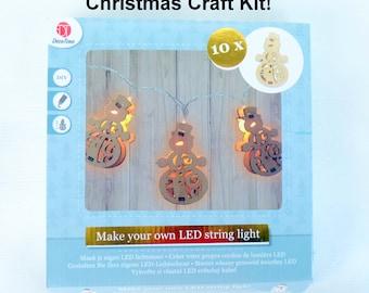 Christmas LED Lights, MDF String Light Kit, DIY Christmas Lights, Snowman Christmas Lights, Wood X-mas Garland, X-mas Light Decor