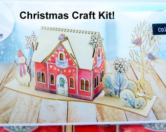 MDF Christmas Craft Kit, suitable for kids. Small X-mas DIY Kit, Red House MDF Kit, Holiday Model Craft Kit For Kids, Cute Christmas Crafts.