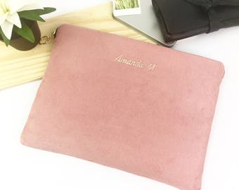 """Personalised Faux Suede 11"""" 12"""" 13"""" 14"""" 15"""" 16"""" Laptop Sleeve Case, MacBook - Air - Pro, ThinkPad, XPS,  HP Spectre, All Size Available."""