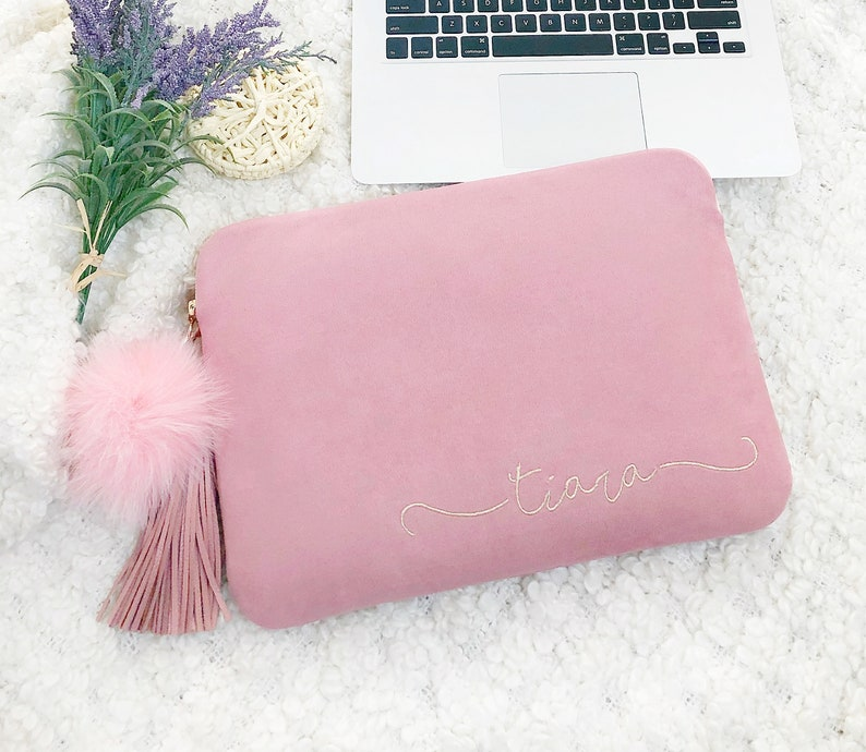 a7dde8a9ed1b Personalised Embroidery Pink Laptop Case 13 Inch, 15 Inch Laptop Sleeve,  Pink Macbook Air Sleeve, Macbook Pro 13 Inch Case- All Laptop Size