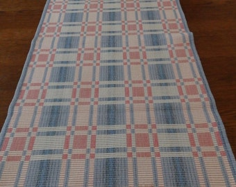 Vintage Swedish Rips Woven Table Runner Blue Pink and White