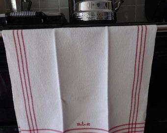 "A Vintage Swedish Handwoven Linen Towel Tea Towel Monogrammed ""L"" Red Stripes"
