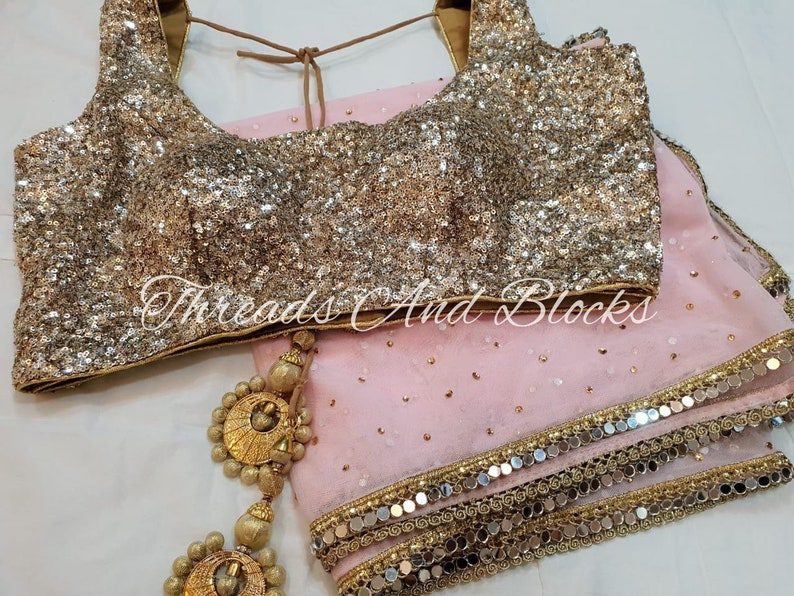 Baby Pink Saree with Gold Blouse