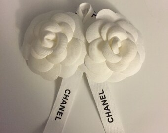 Upcycled authentic Chanel camellia hair accessory
