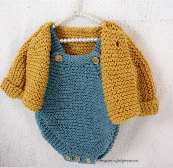 Baby Set Knitting Pattern Cardigan And Romper Set Baby Sweater Etsy