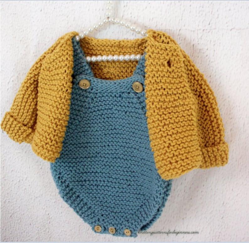 08360fddd23e Baby Set Knitting Pattern Cardigan And Romper Set Baby Sweater