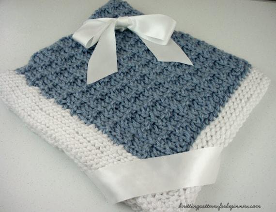 Easy Knitting Pattern Little Boy Blue Baby Blanket Lap Blanket Etsy
