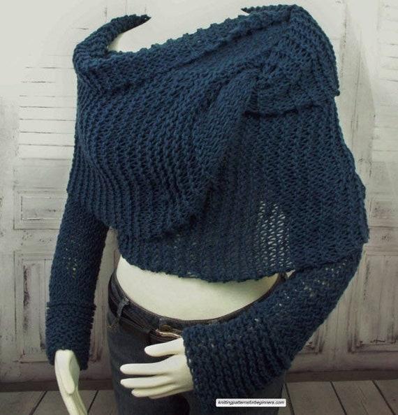 Sweater Scarf Knitting Pattern Shrug Knitting Pattern Knitted Etsy