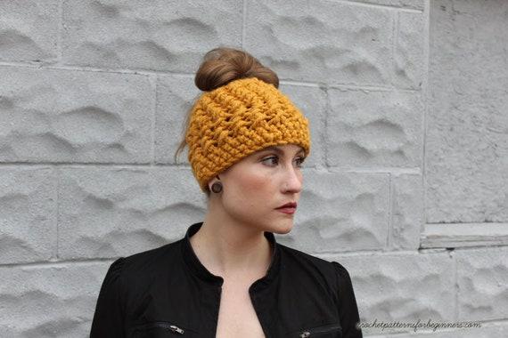 Messy Bun Hat Crochet Pattern Ponytail Hat Crochet Pattern  4878f639512