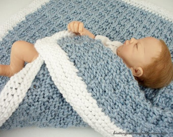 Easy Knitting Pattern Little Boy Blue Baby Blanket Lap Blanket and Afghan Blanket Knitting Patterns For Beginners Baby Boy Blanket