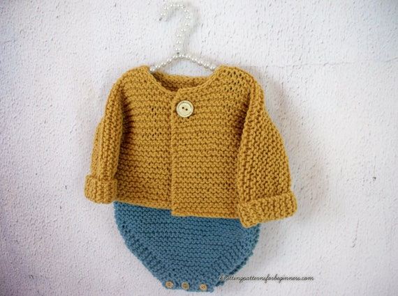 Knitting Pattern Baby Cardigan Baby Sweater Baby Jumper Easy Etsy