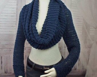 Sweater Scarf Knitting Pattern Shrug Knitting Pattern Knitted Scarf With Sleeves Wrap Shrug Knitting Pattern Easy Knitting Pattern